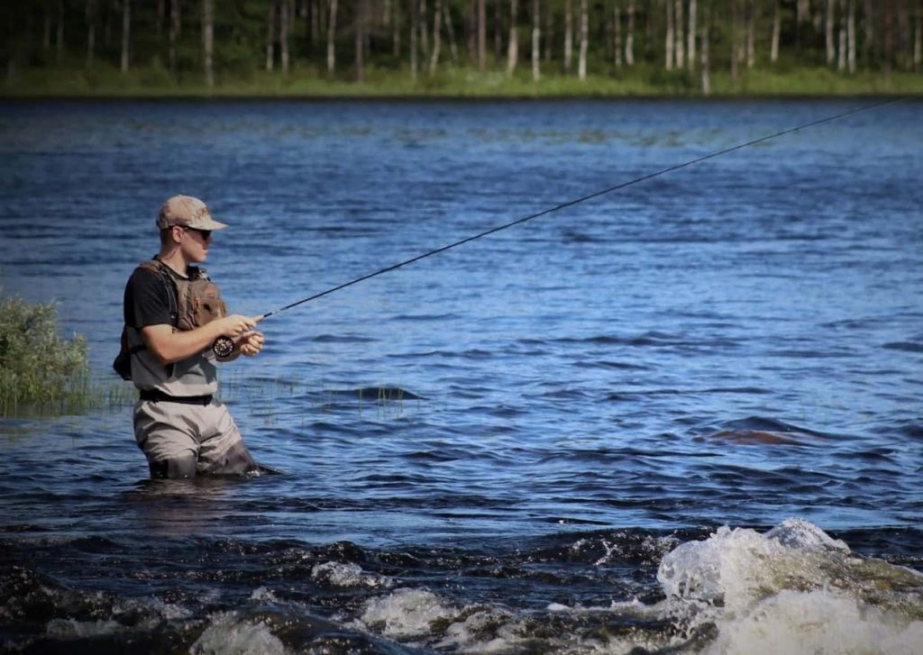 fly fishing with wet wading shoes